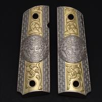 1911 Grips Full Size Government 2 Tones NICKEL Gold Free Grip Screws Included