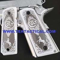 1911 ivory grips Scroll Colt Checkered W Ambi Cut #T-T694