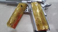 FIT ALL 1911 COLT GRIPS FULL SIZE GOVERNMENT METAL Grips Scroll GRIP GOLD Plated