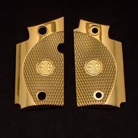 Exclusive LUXURY For Sig Sauer P938 Custom Metal Checkered Grips Gold Plated
