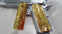 1911 Grips METAL GRIPS FOR Colt Full Size Government US Army Gold Plated
