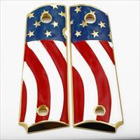 American Flag 1911 Grips FULL SIZE Metal GRIPS Ambi Safety Gold Plated #T-T282
