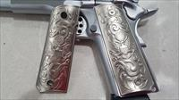 Luxury FOR 1911 COLT PISTOL GRIPS Full Size Brushed Nickel Plated Matching Screw