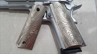 LUXURY 1911 GRIPS FULL SIZE GOVERNMENT METAL Scroll Grips Brushed Nickel