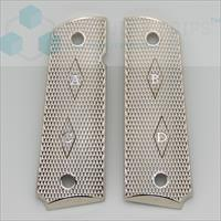 1911 Grips Full Size Government Nickel Plated Checkered Grips Screws Included