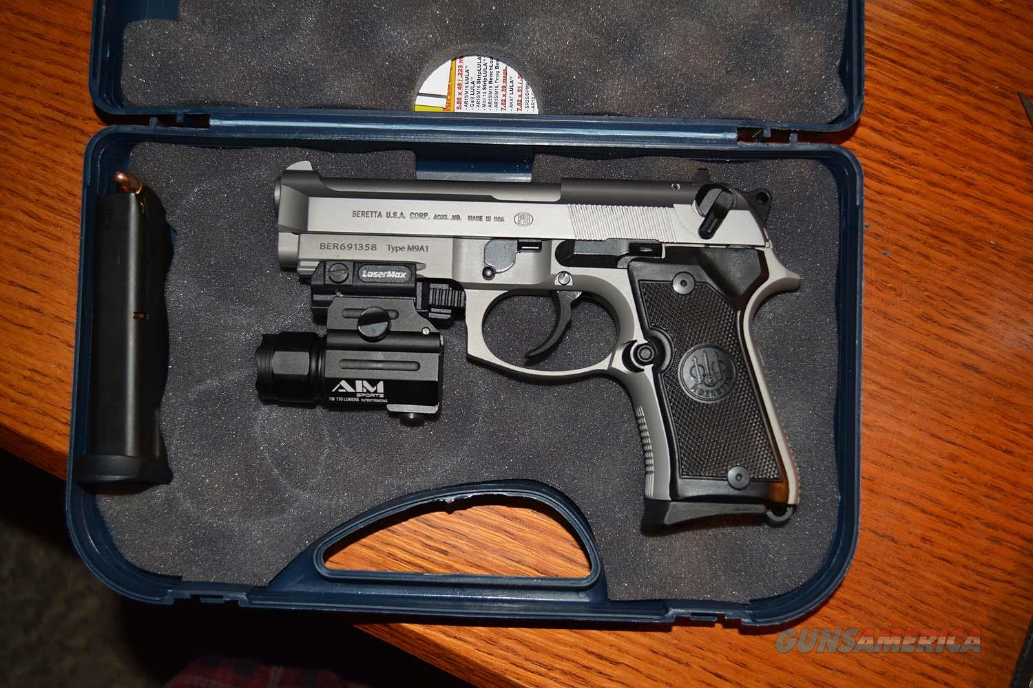 BERETTA 92FS COMPACT INOX (Stainless) 9MM COMPLETE PACKAGE including  LaserMax Laser/SpotLight