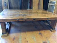Rustic Coffee Table Made From Reclaimed Railcar Oak