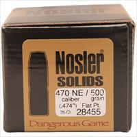 Nosler 470 Nitro Express Solid Bullets, 500 Grains, Flat Nose Lead-Free, Per 25 28455