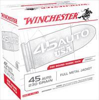 Winchester Ammo Usa45w Usa Centerfire 45 Automatic Colt Pistol (Acp) 230 Gr Full Metal Jacket 200 Bx/ 3 Cs 020892221857