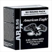 Federal Xm193af90 American Eagle Rifle  Clip 223 Remington/5.56 Nato 55 Gr Full Metal Jacket Boat Tail 90 Bx/ 5 Cs 029465065133