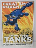 "WWI Metal Sign "" Join The Tank Corps"