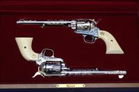 2 Engraved Colt Army Revolvers Single Action 45 Ca With Sequential Numbers