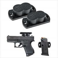 GunMag® Gun Magnet Mounts (2-Pack) - Easy Install in Vehicle, Desk, Cabinets for Concealment