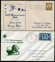 USS MASSACHUSETTS 1939 KEEL LAYING + 1946 LAST DAY POSTAL SERVICE CACH