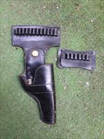 Jay-Pee Black Leather Gun Belt Holster With Ammo Holders