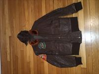 Post WW2 USN U.S. NAVY Flight Leather Bomber Jacket G-1 & Type 1092 Leather Flying Helmet w/chin Cup