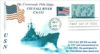 USS FALL RIVER CA-124 memorial naval first day cover with postmark