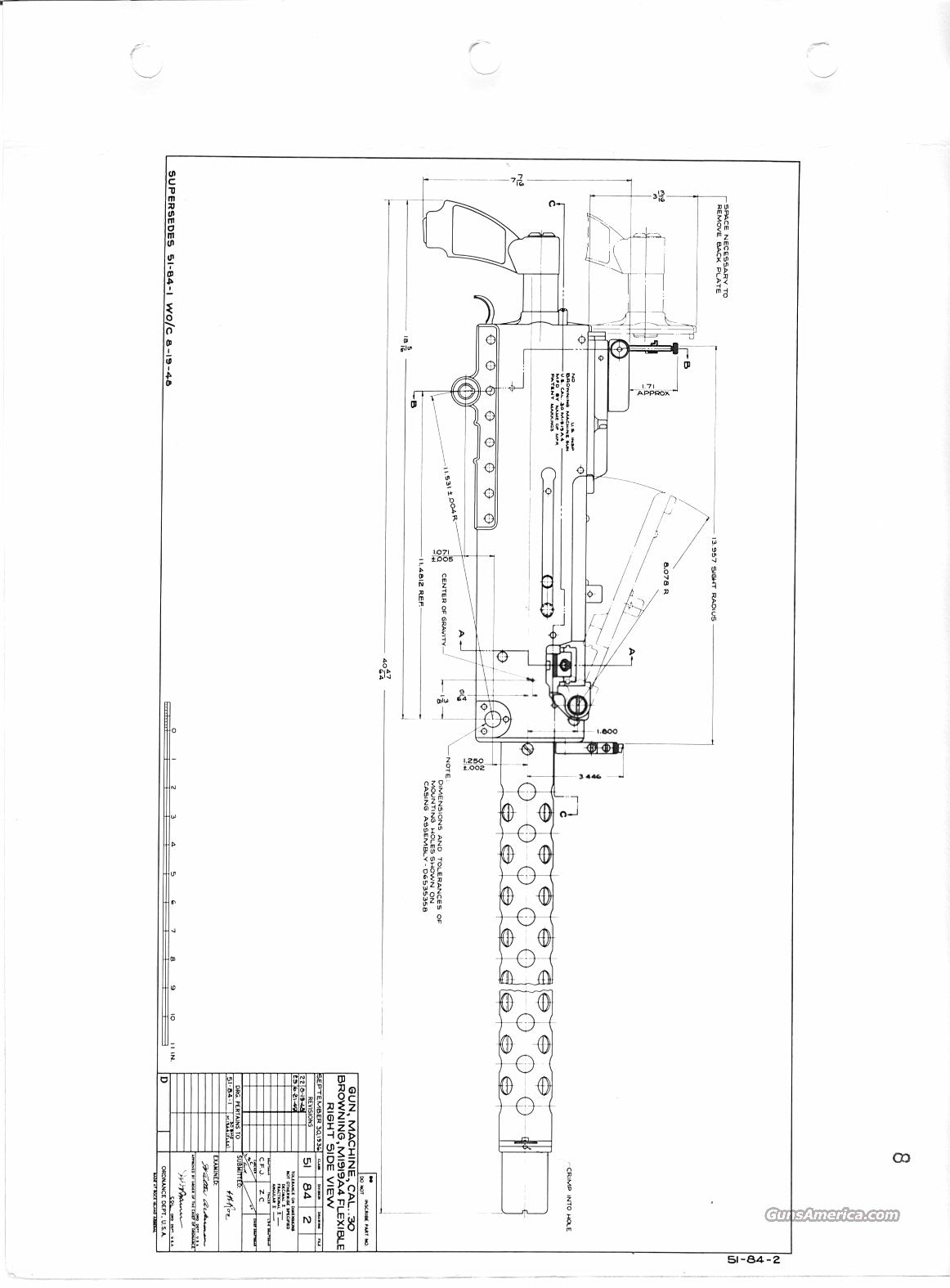 Browning M1919A4 Blueprints. Bound set. 1919A4.... for sale