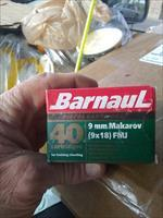 720 rds. High-Quality Barnaul (#1 Russian Military Ammo Choice) 9x18mm Makarov Ammo - packed 40rds. per box.