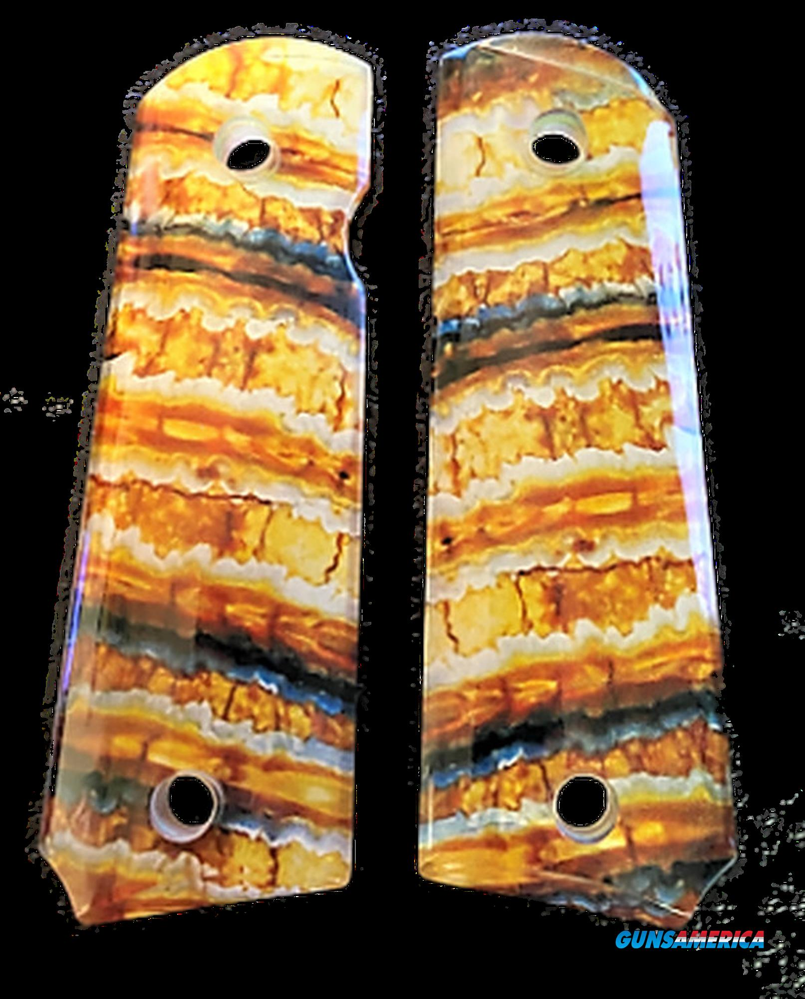 Premium 1911 Gun Grips Clear Acrylic Resin over Mammoth Tooth Image