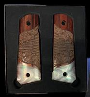 Premium 1911 Full Size Carved Rosewood Grips w/Acrylic Pearl  Accent
