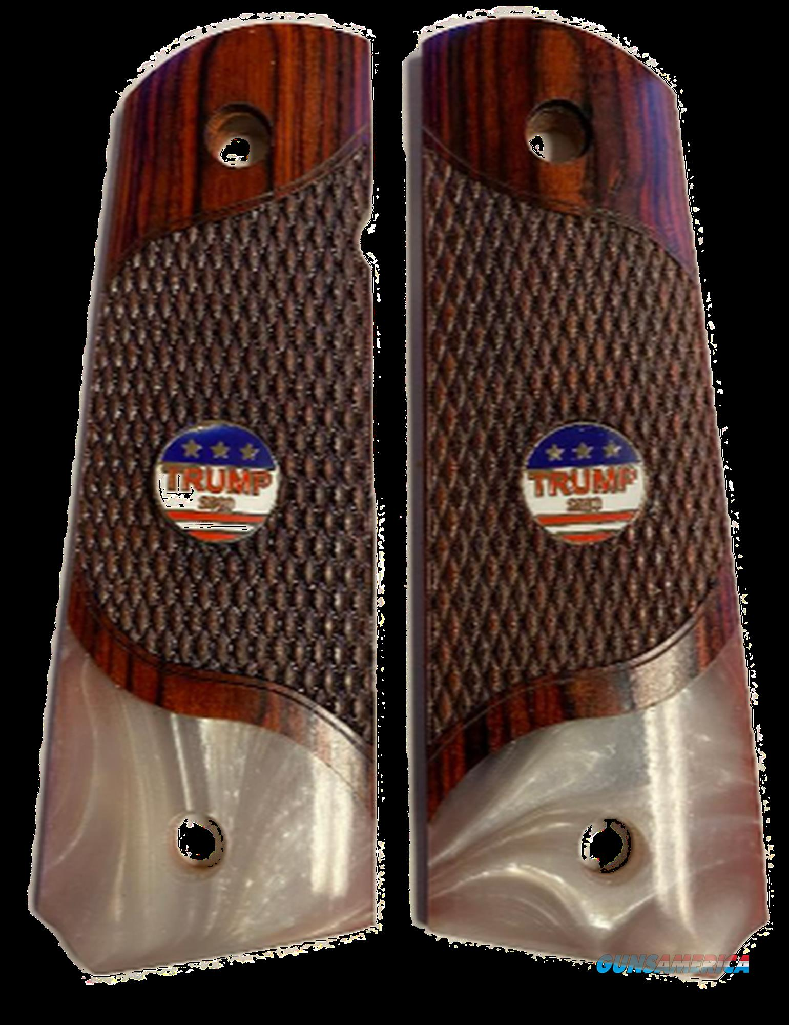 Premium 1911 Full Size Checkered Rosewood Grips Pearl Accent w/TRUMP 2020 Medallions