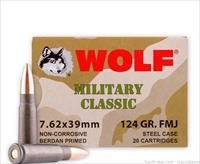 Wolf Military Classic 7.62x39mm Ammo 124 Gr FMJ Steel Case ammo - 1000 rounds