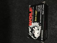 Wolf 9mm Luger FMJ 115 grain box of (50rnds) 20 available