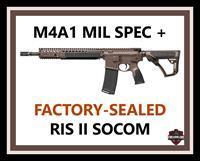 "Daniel Defense M4A1 Carbine in MIL SPEC + (brown) Cerakote 14.5"" 5.56 NATO RIS II SOCOM RIFLE, PICATINNY, FACTORY-SEALED NEW!"