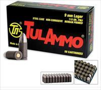 1000 rds Tulammo 9mm  115 gr. Steel Case ammo