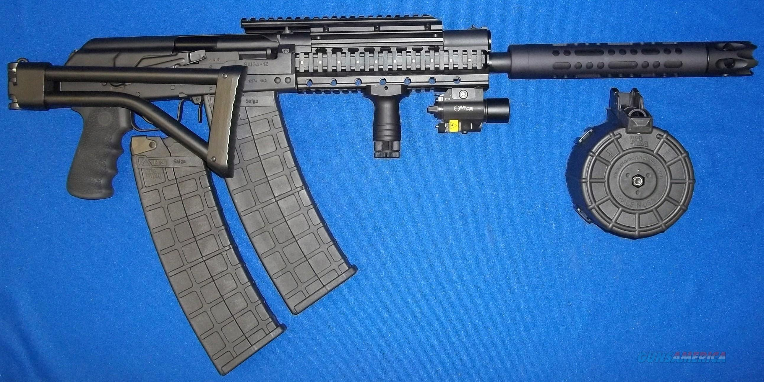 SAIGA 12 RUSSIAN AK47 SIDE FOLDER! GALIL SYTLE SIDE FOLDING STOCK+BARREL  SHROUD WITH TACTICAL MUZZLE BREAK+250 LUMEN LED LIGHT & RED LASER
