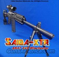 "SAIGA-XTR 308 WINCHESTER PROFESSIONAL TACTICAL CONVERSION! PRECISION FLUTED 21.8"" BARREL+GUN-KOTE+ISRAELI GL-SHOCK RECOIL ABSORBING STOCK+3x12 44MM ETCHED GLASS SCOPE+ALUMINUM QUAD-RAIL+THREADED MUZZLE WITH 5.5"" BRAKE+DRAGO GEAR MOLLE CASE"