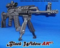 Black Widow AK47 Custom Built in USA * Precision Fluted Barrel * Hinged Top Rail * FAB Defense T-Pod VFG Bipod Combo * AccuShot Etched Glass 1x4.5 Power CQB Scope * Gun-Kote * M4 Style Compact Collapsible Stock * Flame Tactical Muzzle Break