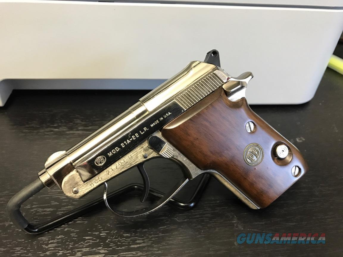 Beretta 21A  22LR Nickel w/ Wood