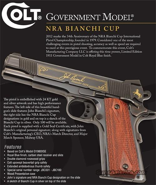 COLT NRA BIANCHI CUP GOVERNMENT MODEL