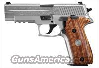 Sig Sauer P226 STAINLESS ENGRAVED, Engraved Natural Stainless Steel Slide, Custom Wood Grips with SIG Inlay