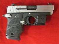 SIG SAUER 938 STAINLESS TWO TONE WITH NIGHT SIGHTS AND VERIDIAN LASER AND HOLSTER USED