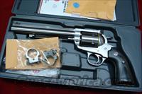 "RUGER BISLEY SUPER  BLACKHAWK HUNTER 7.5"" STAINLESS  44MAG WITH RINGS NEW  (KS-47NHB)"