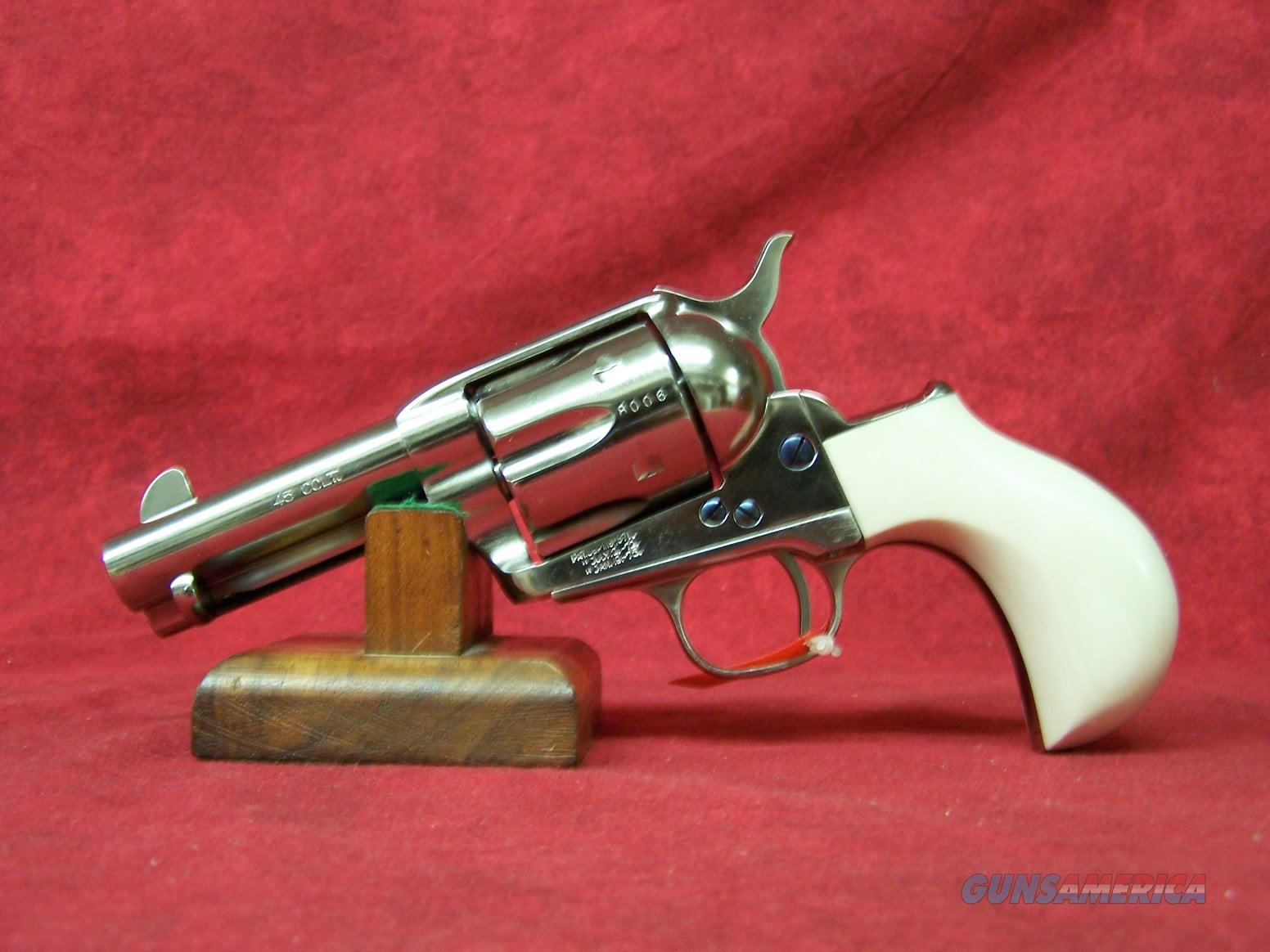"""Cimarron Thunderer Doc Holliday Combo  45LC 3 ½"""" Nickel-plated and Ultra  Ivory™ grips Knife and Holster (119877)"""