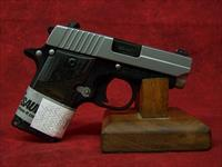 "SIG P238 Two-Tone .380ACP 2.7""  Black Nitron Finish With Stainless Steel Slide Blackwood Grips (238-380-BG)"