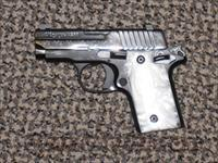 SIG P-238 ENGRAVED .380 ACP WITH WHITE PEARL GRIPS...