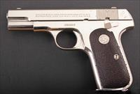Colt 1908 Hammerless .380–RARE NICKEL, 98% FACTORY FINISH, 1936, vintage firearms inc