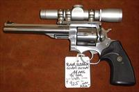 "Ruger, Redhawk stainless steel revolver, .44 mag, 6 shot, adjustable rear sights , 7½"" barrel, comes with M8x2 Leopold scope"