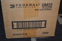 5000 Rounds Federal UltraMatch 22 LR 40 gr Solid UM22