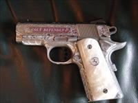 "Colt DEfender 3"".45acp,fully deep master hand scroll engraved by Jef Flannery engraving,2 mags,Perlite grips,Series 80,white dot sites,a one of a kind masterpiece,that is way nicer in person,polished & matt stainles,new in box !!"