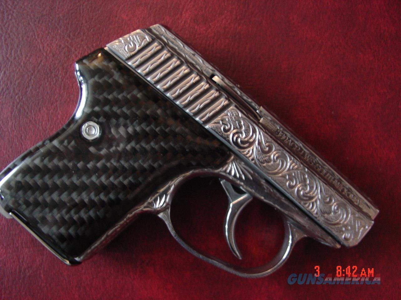 Seecamp LWS 380, fully engraved & polished by Flannery Engraving,Carbon  Fiber grips,box,manual,& certificate  1 of a kind work of art !!