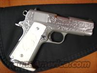 "Colt Officers ACP Mark IV Series 80,3 1/2"",Master deep hand scroll engraved,45 Auto,solid Ivory grips with carved eagle,custom ivory butt plate on Mag-signed-looks like new"