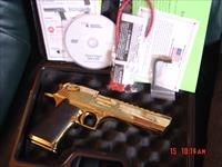 Magnum Research Desert Eagle,50AE,rare high gloss Titanium gold,top rail,an awesome showpiece hand cannon-6""