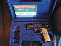 Colt Government model 380,United States Navy commemorative,mini 1911 style,MKIV Series 80,engraved slide in high gloss blue & gold,wood grips,awesome pocket pistol,box & manual.