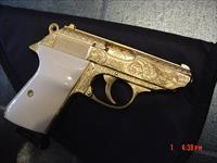 Walther PPK/S 22LR, Flannery engraved & 24K Gold plated,1 mag,certificate,& bonded ivory grips,a 1 of a kind work of art !!